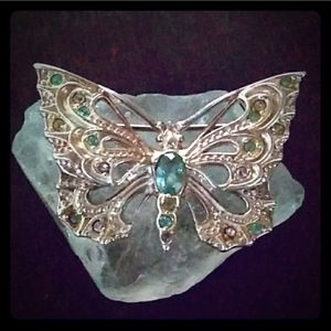 Sterling Silver MultiStone Butterfly Brooch Signed